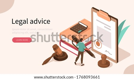 People Character in Lawyer Office Signing Legal Contract.  Judge Gavel, Scales of Justice and Legal Books Lying near. Law and Justice Concept. Flat Isometric Vector Illustration. Сток-фото ©