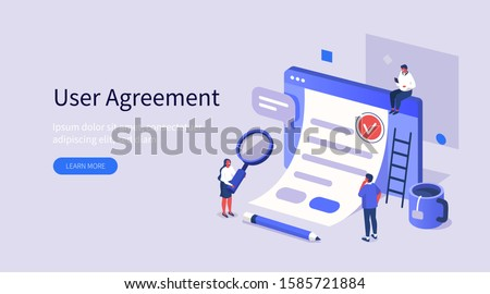 People Character Inspecting Contract Document, Reading Privacy Policy and Terms and Conditions. Businessman Signing Contract. User Agreement Concept. Flat Isometric Vector Illustration.