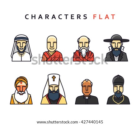 People character set of  figures different religions  the world. Isolated face in flat style.