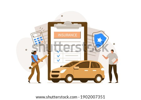 People Character  Signing Auto Insurance Policy Form. Insurance Agent or Salesman providing Security Document. Auto Care and Protection Concept. Flat Cartoon Illustration.