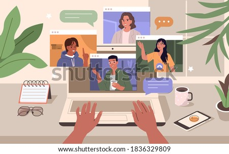 People Character working Remote at Home and using Laptop for Video Meeting with Colleagues and Friends. Online Discussion and Video Conference Concept. Flat Isometric Vector Illustration.