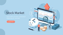People Characters Analyzing  Stock Market. They Standing near Screen with Graphs, Charts and Diagrams. Businesspersons Investing in Stocks. Stock Trading Concept. Flat Isometric Vector Illustration.