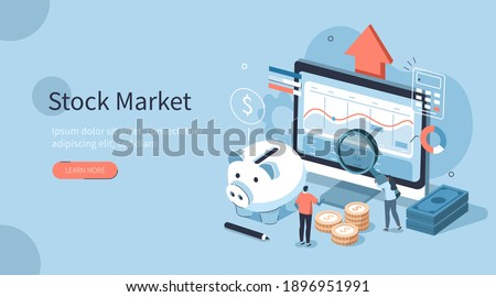 People Characters Analyzing  Stock Market. They Standing near Screen with Graphs, Charts and Diagrams. Businesspersons Investing in Stocks. Stock Trading Concept. Flat Isometric Vector Illustration. Stockfoto ©