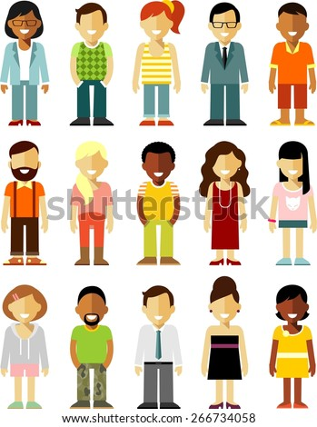 People characters avatars set in flat style isolated on white background