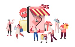 People characters buying in online store and smartphone screen. Website shopping, mobile marketing concept, e-commerce. Man and woman making purchase. Vector illustration