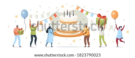 People Characters carrying Birthday Cake and Celebrating. Women and Men holding Gift and Balloons. Friends Enjoying the Party. Happy Birthday Concept. Flat Cartoon Vector Illustration.  Foto stock ©