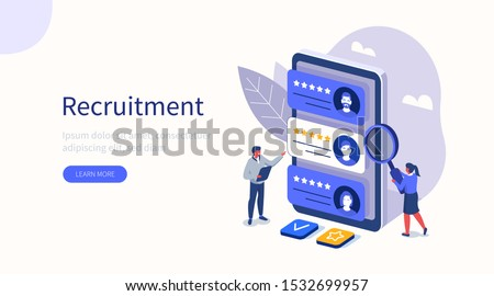 People Characters Choosing Best Candidate for Job. Hr Managers Searching New Employee. Recruitment Process. Human Resource Management and Hiring Concept. Flat Isometric Vector Illustration.