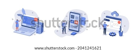 People characters developing software program and mobile app. Developers  programming and writing program code. Development process concept. Flat cartoon vector illustration and icons set isolated.
