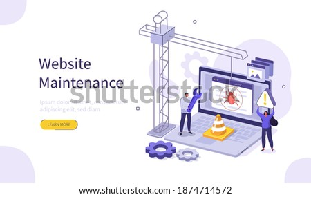 People Characters Developing Web Site. Woman and Man Solving Errors and Bugs. Website Maintenance Process and Under Construction Concept Page. Flat Isometric Vector Illustration.