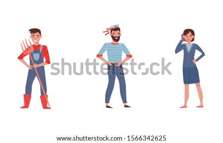 People Characters Engaging in Different Occupations Vector Illustrations