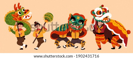 People characters for Chinese new year parade, isolated on beige background. Cute Asian teen boys and girls performing traditional dragon and lion dance.
