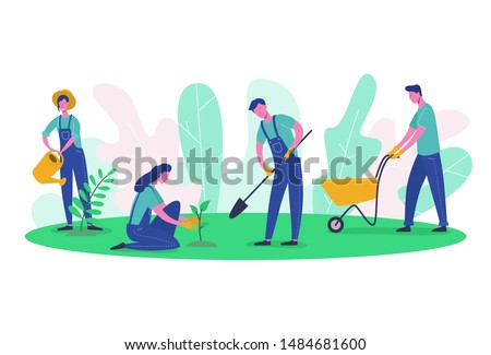 People characters Gardener and Farmer Work in Garden. Woman Harvest Tree, Female Planting green, Man digging. Flat Cartoon Vector Illustration clean ecology and garden tools