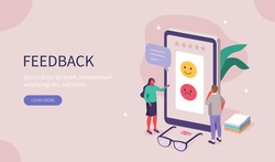 People Characters Giving Feedback. Clients Choosing Satisfaction Rating and Leaving Positive or Negative Review. Customer Service and User Experience Concept. Flat Isometric Vector Illustration.