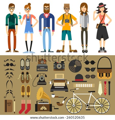 people characters  hipster ...