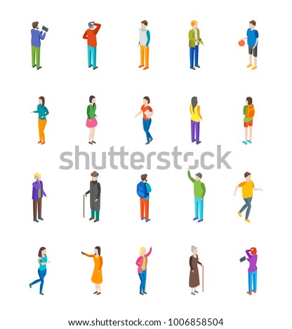 People Characters Icon Set Isometric View Different Types Social Man and Woman Isolated on White Background for Report, Research. Vector illustration