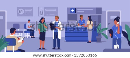 People Characters in Hospital Reception. Medical Staff Working. Doctor Talking with Patient at the Hospital Room. Patients Waiting for Doctor. Medical Clinic Concept. Flat Cartoon Vector Illustration.
