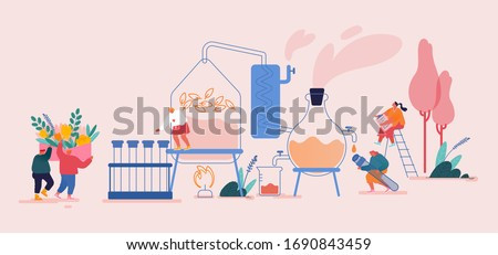 People Characters Mixing Herbs in Bottle for Natural Cosmetics and Oils. Organic Ingredients for Better Skin Care, Healthcare in Cosmetology. Herbal Cosmetic from Plants. Cartoon Vector Illustration