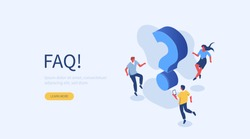 People Characters near Question Marks. Woman and Man Ask Questions and receive Answers. Online Support center. Frequently Asked Questions Concept. Flat Vector Illustration.