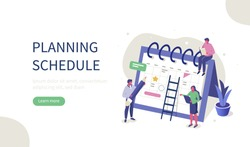 People Characters Planning Schedule with Calendar. Man and Woman Persons Manage and Organize their Work and Time. Business Plan and Time Management Concept. Flat Isometric Vector Illustration.