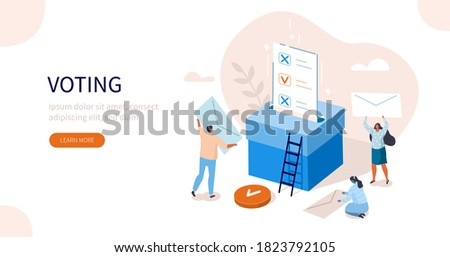 People Characters Putting Ballot Into Voting Box. Women and Men Choosing Candidate at Vote Polling Station. Election Campaign and Referendum Concept. Flat Isometric Vector Illustration. Сток-фото ©