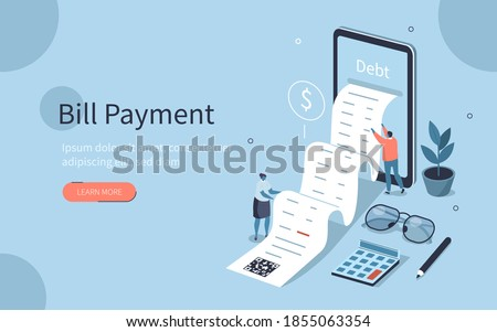 People Characters Reading and Calculating Long Financial Bill or Invoice Online in Mobile App on Smartphone. Payment and Debts Management Concept. Flat Isometric Vector Illustration.