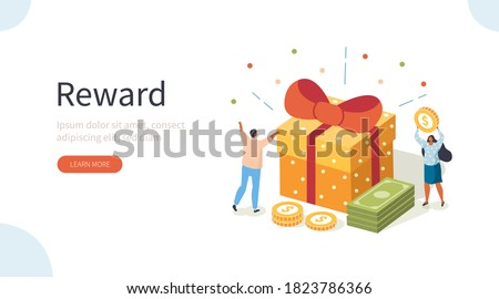 People Characters Receiving Online Reward. Woman and Man Standing near Gift Box and Collecting Cash Back Bonuses. Loyalty and Referral Marketing Program Concept. Flat Isometric Vector Illustration.
