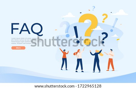 People Characters Standing near Exclamations and Question Marks. Woman and Man Ask Questions and receive Answers. Online Support center. Frequently Asked Questions Concept. Flat Vector Illustration.