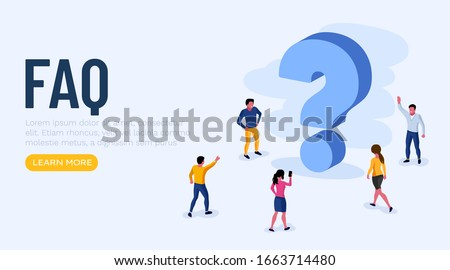 People Characters Standing near Question Marks. Women and Men Ask Questions and receive Answers. Online Support center. Frequently Asked Questions Concept. Vector Illustration.