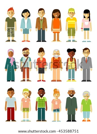 People characters standing together set. Different ethnic smiling multicultural persons in flat style isolated on white background