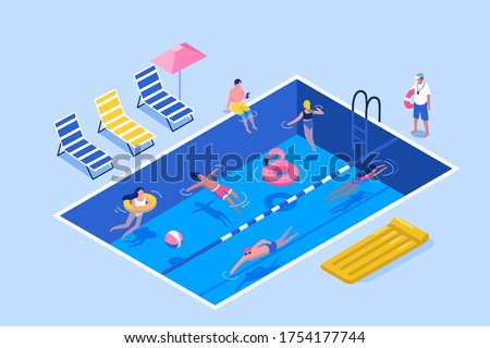 People Characters Swimming in Public Swimming Pool in Summer. Man and Woman wearing Swimsuits Sunbathing,  Lying and Floating on Water. Summer Vacation Concept. Flat Isometric Vector Illustration.