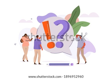 People Characters talking with Customer Support. Woman and Man Ask Questions and receive Answers. Online Support Service. Frequently Asked Questions Concept. Flat Cartoon Vector Illustration.