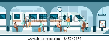 People Characters wearing Facial Medical Masks standing and sitting on Railroad Station. Passengers waiting a Train. Social Distancing in Public Transport Concept. Flat Cartoon Vector Illustration.