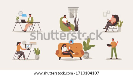 People Characters Working at Home Office.  Freelancers Working on Computers, Laptops, Smartphones and Talking with Colleagues Online. Home Office Concept.  Flat Cartoon Vector Illustration.