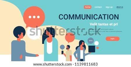 people chat bubbles communication speech dialogue man woman character portrait horizontal copy space flat vector illustration