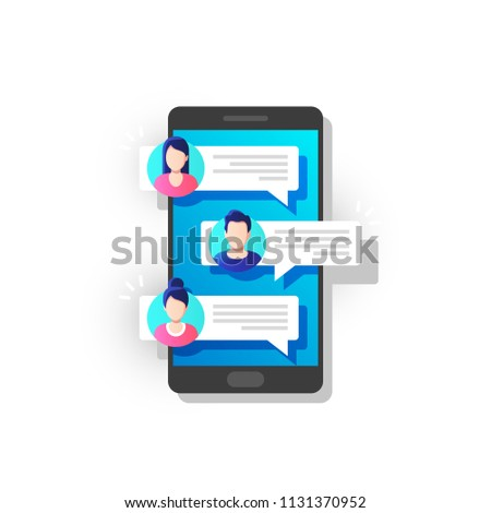 People chatting on mobile. Chat notification on phone, messages bubbles on screen with avatars. Vector illustration.