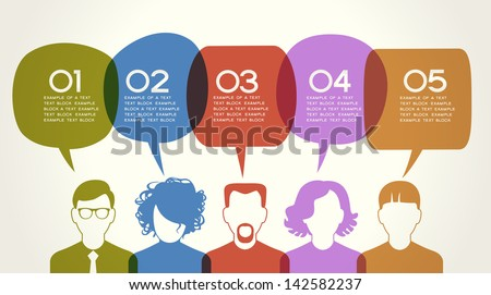 People Chatting. Vector illustration of a communication concept, relating to feedback, reviews and discussion. The file is saved in the version AI10 EPS. This image contains transparency.