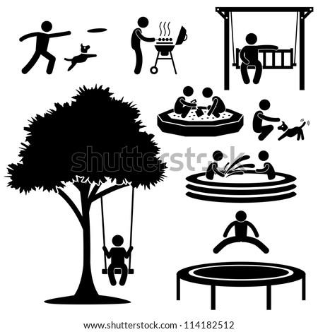 People Children Home Garden Park Playground Backyard Leisure Recreation Activity Stick Figure Pictogram Icon
