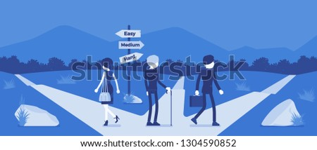 People choosing a path, way, life direction. Three people pick out alternatives between easy, medium, hard road pointers, management and guidance metaphor. Vector illustration, faceless characters