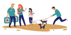 People choosing pets at animal shelter. Man following dogs on leash, girl hugging small kitty. Workers or volunteers giving cages for transportation of canine and feline mammals, vector in flat