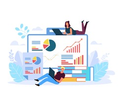 People chracter analysing business results. Business analytics concept. Accounting bookkeeping abstract concept. Vector flat graphic design illustration