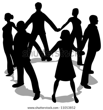 people circle silhouette