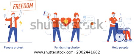 People civic activism, illustration. Activist, policy, volunteer, protest. Flat illustration Icons infographics. Landing page site print poster. Eps vector. Сток-фото ©