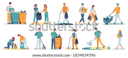 People clean up garbage. Volunteers gathering trash recycle. Characters cleaning environment litter. Waste collectors vector set. People collect trash and rubbish, cleaning environmental illustration Сток-фото ©