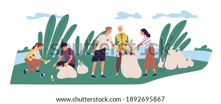 People cleaning shore by collecting garbage into trash bags. Family of eco volunteers working together and picking plastic litter. Parents and children care about nature. Flat vector illustration Сток-фото ©