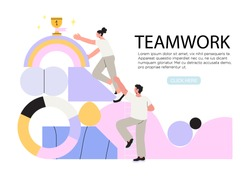 People climbing abstract mountain and trying to rich first place or golden trophy cup. Concept of business success, reach new hights, leadership, career achievements through teamwork and cooperation.