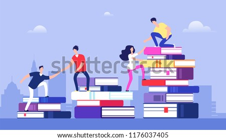 People climbing books. Business success, education level and staff and skill development vector concept. School study people, success student learn books illustration