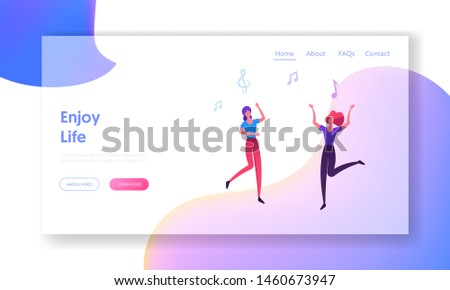 People Clubbing in Night Club Website Landing Page, Girls Visit Music Event or Concert, Women Dancing and Jumping, Friends Having Fun, Leisure, Web Page. Cartoon Flat Vector Illustration, Banner
