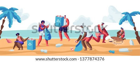 People Collecting Trash into Bags on Beach. Pollution of Seaside with Different Kinds of Garbage. Volunteers Clean Up Wastes on Ocean Coast. Ecology Protection Concept Cartoon Flat Vector Illustration