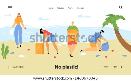 People Collecting Trash into Bags on Beach. Pollution of Seaside with Different Kinds of Garbage. Ecology Protection Concept Website Landing Page, Web Page. Cartoon Flat Vector Illustration, Banner