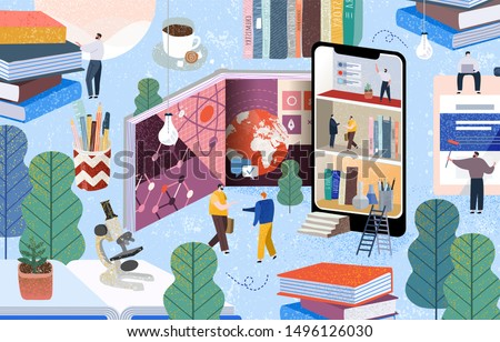 People communicate and gain knowledge through books, the Internet and the phone. Vector illustration of online learning on the World Wide Web, digitalization of business, education and training.
